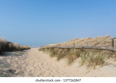 Sandy path to the beach in Noordwijk, The Netherlands
