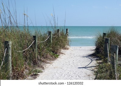 Sandy Path to a White Sand Beach