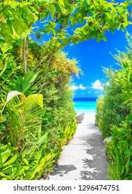 sandy pathway to beautiful unspoilt beach