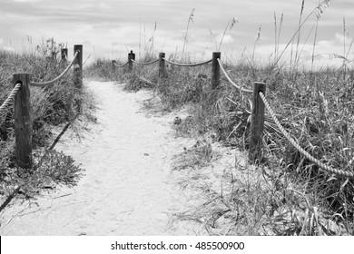Sandy pathway to Turtle Beach in Siesta Keys, Florida.
