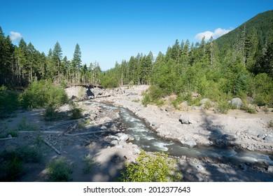 Sandy River headwaters near Mt. Hood Oregon on a sunny day.