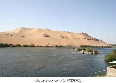 sandy riverbank island at Aswan Nile