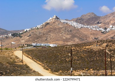Sandy road through the island of Serifos. Cyclades, Greece