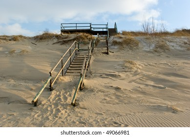 Sandy seacoast of Curonian spit in winter. Russia