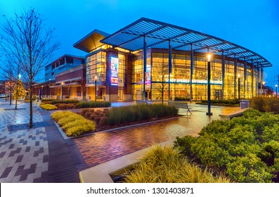 SANDY SPRINGS, GA - Dec. 18, 2018: Front of the Performing Arts Center in Sandy Springs, GA, near Atlanta on Dec. 18. The building anchors a newly constructed downtown area in suburban Atlanta city.