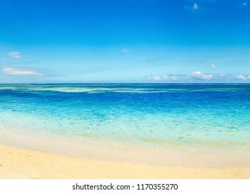 Sandy tropical Wolmar beach at sunny day. Beautiful landscape. Mauritius