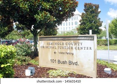 SANFORD, FL - JULY 9, 2013: Seminole County Criminal Justice Center on July 9, 2013.  Courtroom 5-D, where the Zimmerman trial is being held, is visible behind the trees.