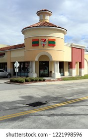 SANFORD, FL, USA - NOVEMBER 13: The front of a 7-Eleven store in Sanford, Florida on November 13, 2017. This 7-Eleven location was involved in the story of the 2012 shooting of Trayvon Martin, which b
