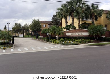SANFORD, FL, USA - NOVEMBER 13: An entrance to The Retreat at Twin Lakes in Sanford, Florida on November 13, 2017. The Retreat at Twin Lakes was the site of the 2012 shooting of Trayvon Martin, which