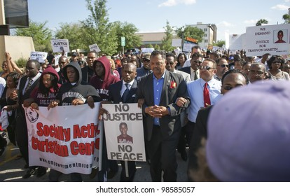 SANFORD, FL-MARCH 26: Pastor Jamal Bryant and Reverend Jesse Jackson march in support of Trayvon Martin on March 26, 2012 in Sanford Florida.