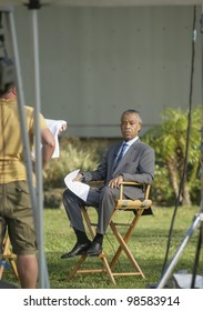 SANFORD, FL-MARCH 26: The Reverend Al Sharpton sits patiently while waiting to speak to the media during the Trayvon Martin on March 26, 2012 in Sanford Florida.