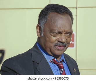 SANFORD, FL-MARCH 26:  The Reverend Jesse Jackson greets supporters in support of Trayvon Martin on March 26, 2012 in Sanford Florida.