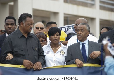 SANFORD, FL-MARCH 31: Jesse Jackson, Roslyn Brock, and Al Sharpton marches towards the Sanford Police department in support of Trayvon Martin. March 31, 2012 in Sanford Florida.