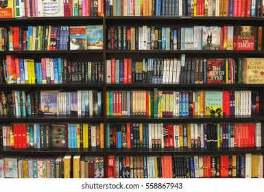 San-Francisco, USA - January 17, 2017: Photo of bookshelves on booksellers shop