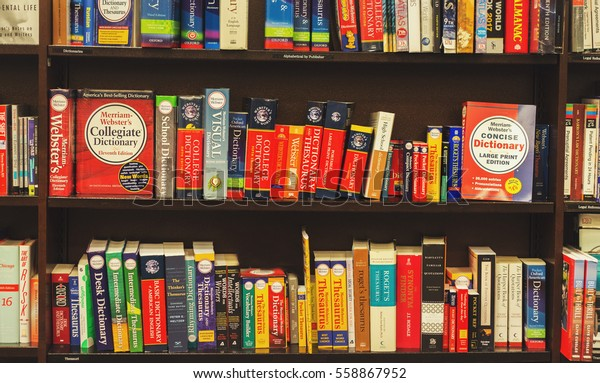 San-Francisco, USA - January 18, 2017: Photo of english language dictionary books on bookshelves in booksellers shop
