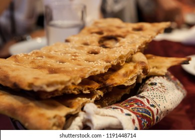 Sangak, a leavened Iranian flatbread. In Persian 'sangak' means little stone, as the bread is baked on small stones in a traditional oven.