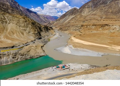 Sangam or Confluence of Zanskar and Indus(or Sindhu) river show the two different colors of water,muddy and green, in June at Leh,Ladakh,Jammu&Kashmir,India