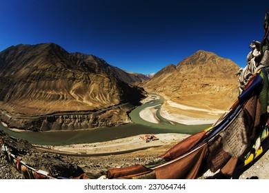 Sangam Indus and Zanskar Rivers meeting in Leh Ladakh : Fisheye Lens view.
