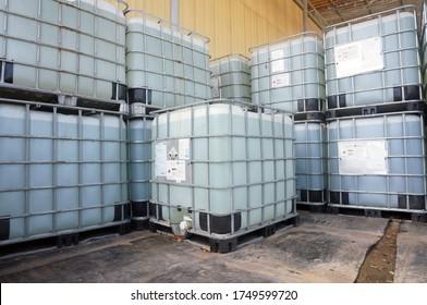 Sangatta, East Kalimantan/Indonesia - 05 June 2020: IBC Tank for caustic soda liquid.