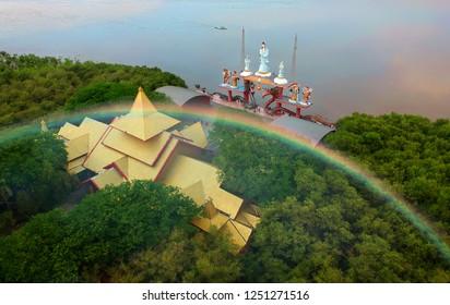 Sanggar Agung Temple , Iconic Surabaya Landmark bordering the kenjeran beach, Surabaya Indonesia