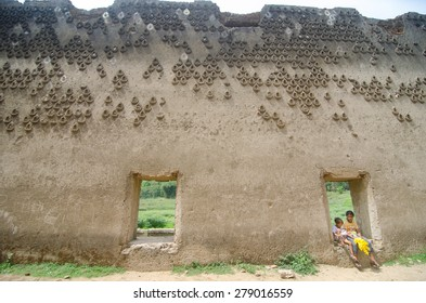Sangklaburi,Thailand-May 3,2015 : Interior Wall Decoration of Wat Saam Prasob, the last remaining vestige of the old town flooded for the creation of Khao Laem Reservoir, in Sangklaburi, Thailand