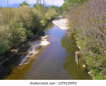 The Sangone torrent river in Beinasco, Italy