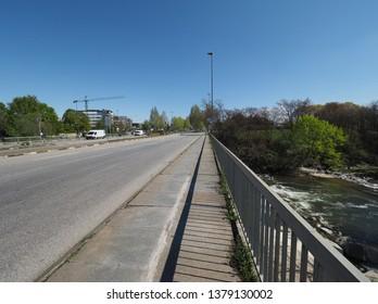 Sangone torrent river bridge in Turin, Italy