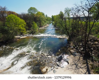 The Sangone torrent river in Turin, Italy
