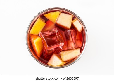 Sangria drink in glass isolated on white background. Top view