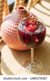 sangria with fresh fruits and berries