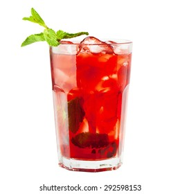 Sangria Glass. Wine Drink with Ice and Fruits
