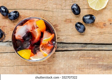 Sangria with ice and lemon view from above