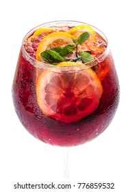 Sangria on a white background. Classic Spanish drink
