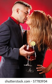Sangria wine cocktail and passion couple