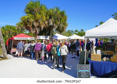 SANIBEL, FLORIDA -15 JAN 2018- View of the Sanibel Island Farmers Market, a weekly market held on Sundays located in the Sanibel city hall in Lee County, Florida.