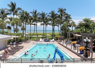 Sanibel, Florida, USA - July 25, 2016: Nice view of pool and sea viewed from Holiday inn in Sanibel Island