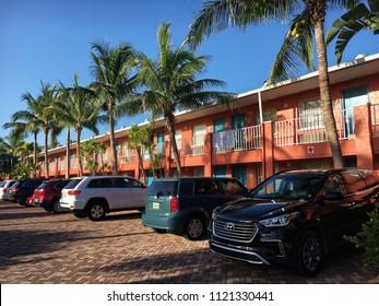 Sanibel Island, Florida, USA - July 23, 2016: Typical motel in Sanibel Island in Florida