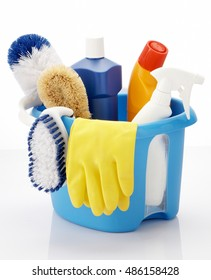 sanitary cleaner set on white background