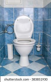 Sanitary concept. Toilet bowl in restroom.