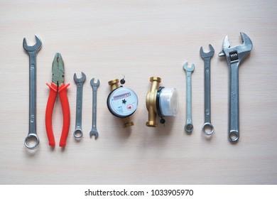 Sanitary engineering. Water meters and tools for plumbing.