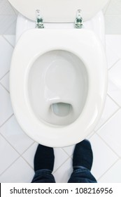 a sanitary flush toilet in a household. bathroom and toilet