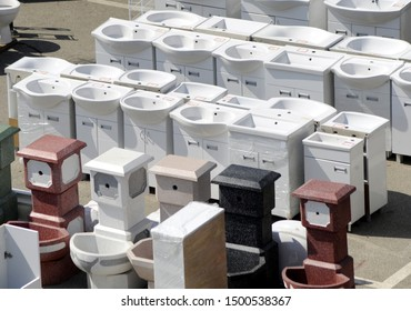 Sanitary ware shop at open market selling toilet sinks and furniture