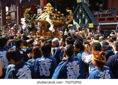 SANJA MATSURI FESTIVAL, TOKYO, JAPAN - 18 May 2013. It is an annual festival which takes place in Senso-Ji Temple in Asakusa district.Almost two million of people visit Asakusa during the the festival