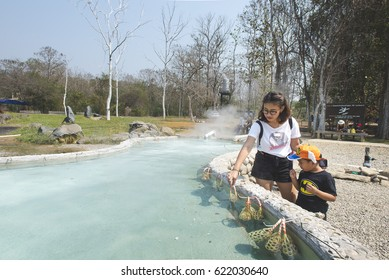 Sankamphaeng, Chaing Mai - Mar 5 2017 : An unidentifer people was came with their family to Sankamphaeng Hot Spring to relax.