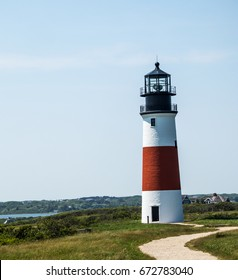Sankaty Head Light at the eastern tip of Nantucket Island, MA, was one of the first lighthouses in the US to receive a Fresnel lens.