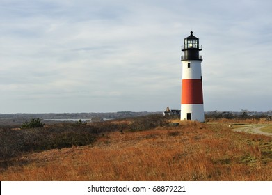 Sankaty Head Lighthouse Nantucket Massachusetts USA wide-angle view across the moors in autumn. Built in 1850, the light house was moved from the edge of an eroding bluff in 2007.