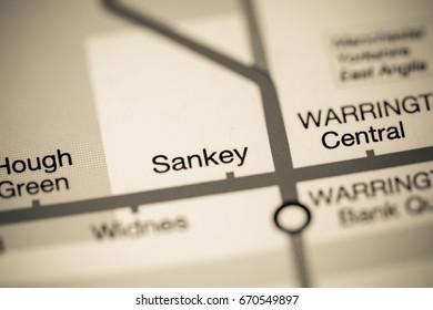 Sankey Station. Liverpool Metro map.