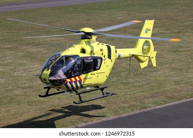 SANKT AUGUSTIN, GERMANY - APRIL 9, 2015: ANWB Medical Air Assistance Eurocopter EC-135T2+ with registration PH-MAA departing after maintenance at Bonn Hangelar Airport.
