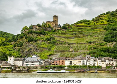 Sankt Goar, Germany - 7/4/2013:  The ruins of the Gutenfels Castle is in wine country on a hill above the Rhine River and the village of Kaub, Germany
