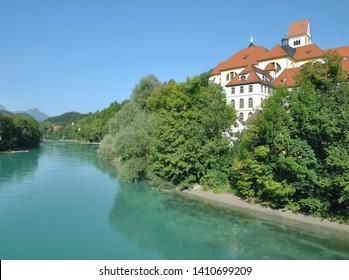 Sankt Mang Monastery at Lech River in Fuessen,Allgaeu,Bavaria,Germany